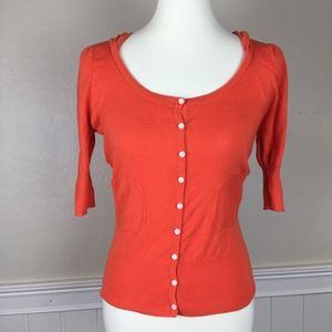 ANTHROPOLOGIE Orange Cardigan Hoodie Size Medium
